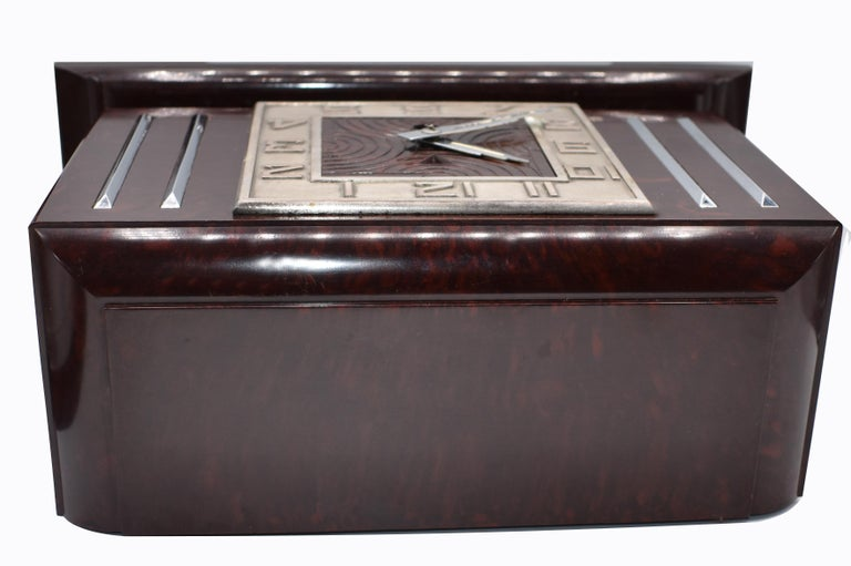 Large Art Deco French Bakelite Mantle Clock by JAZ, circa 1930s For Sale 4