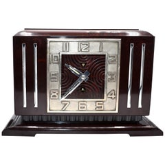 Large Art Deco French Bakelite Mantle Clock by JAZ, circa 1930s