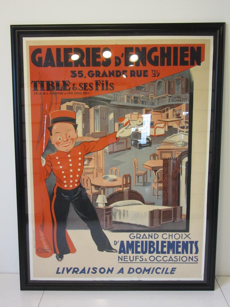 Large Art Deco French Furniture Store Poster by Affiches Kossuth Paris For Sale 6