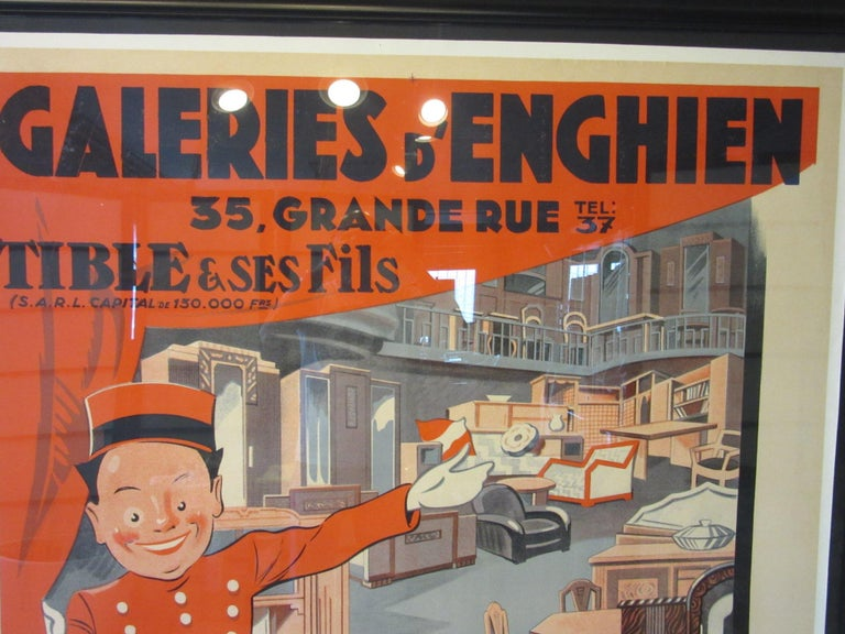 A large colorful advertising poster for a Paris furniture store with great graphics and depicting items from the Art Deco period in the showroom. From the Galleries Enghien