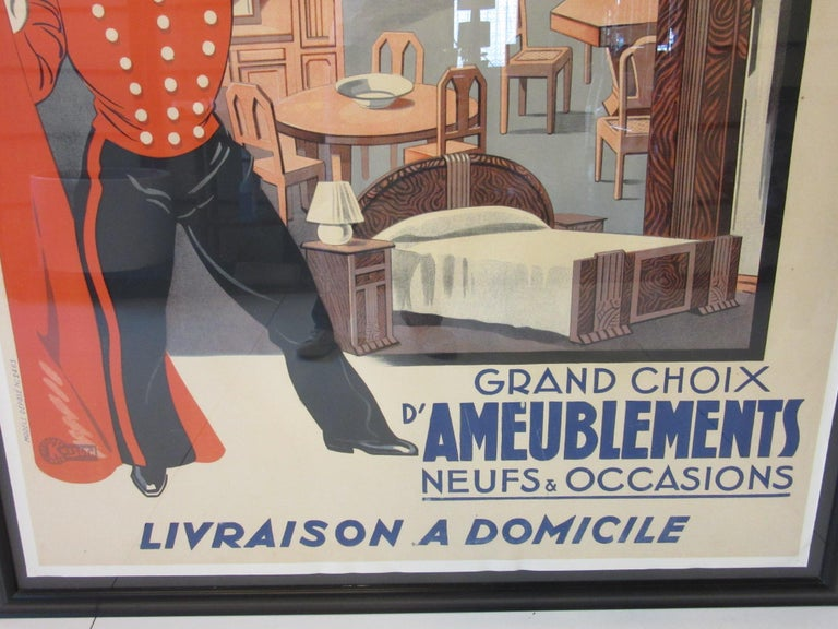 20th Century Large Art Deco French Furniture Store Poster by Affiches Kossuth Paris For Sale