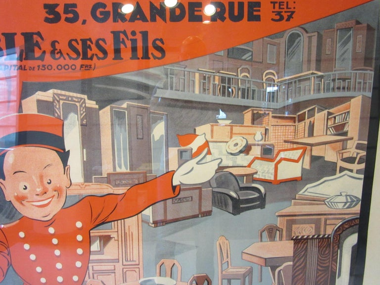 Paper Large Art Deco French Furniture Store Poster by Affiches Kossuth Paris For Sale