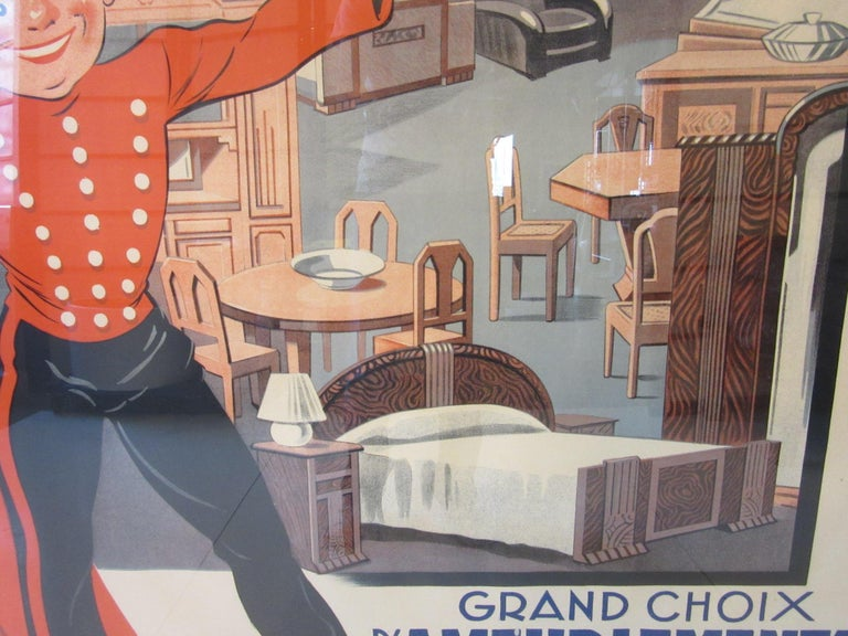 Large Art Deco French Furniture Store Poster by Affiches Kossuth Paris For Sale 1
