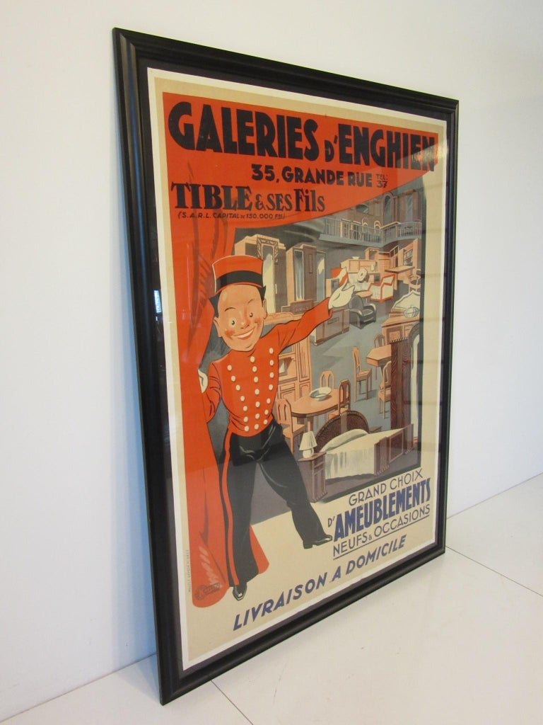 Large Art Deco French Furniture Store Poster by Affiches Kossuth Paris For Sale 2