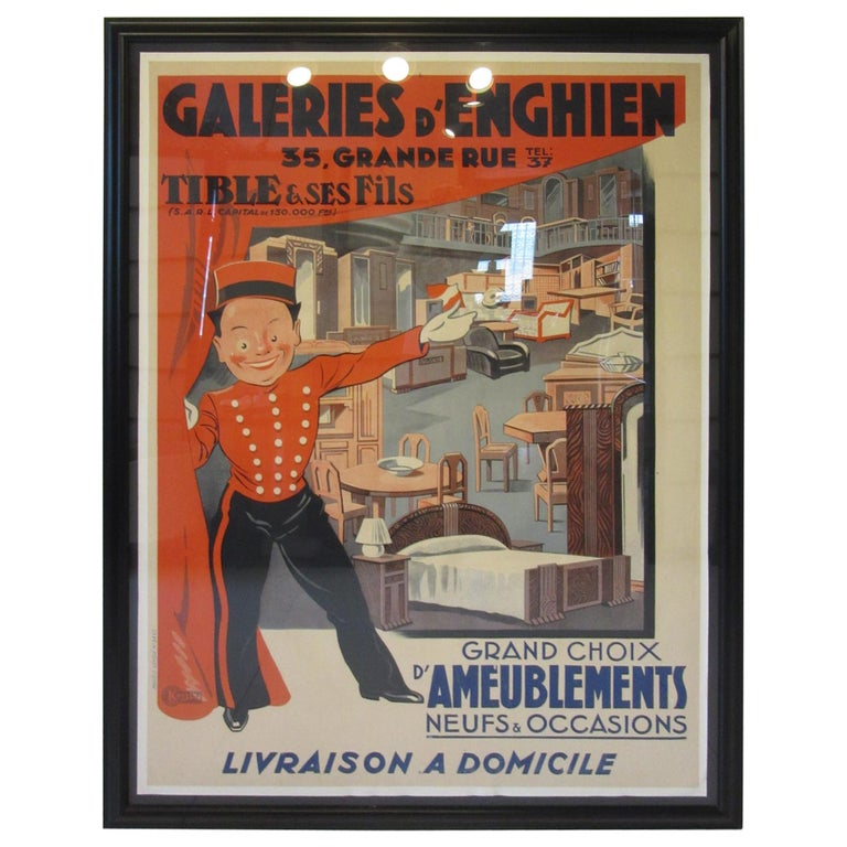 Large Art Deco French Furniture Store Poster by Affiches Kossuth Paris For Sale