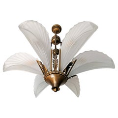 Large Art Deco Frosted Glass Palm Tree Hollywood Regency Brass Chandelier