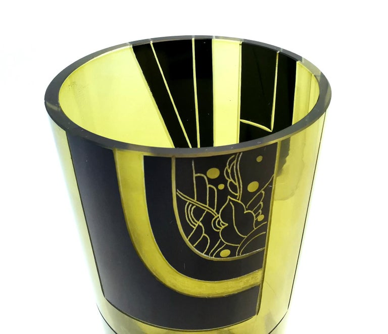 Rare and very stylish geometric patterned vase by a Karl Palda. Great size for modern day use, please see dimensions. With the black enamel decoration against olive colored glass makes this a very striking design, simple but very elegant. Condition