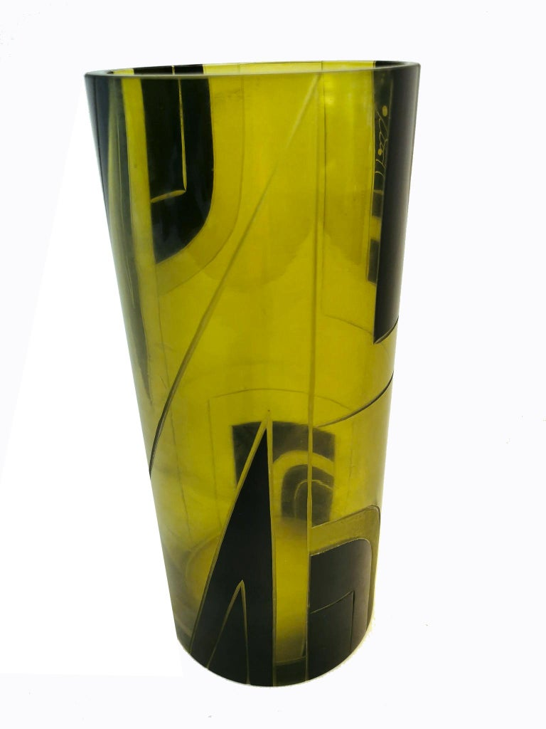 Czech Large Art Deco Geometric Enamel Glass Vase For Sale