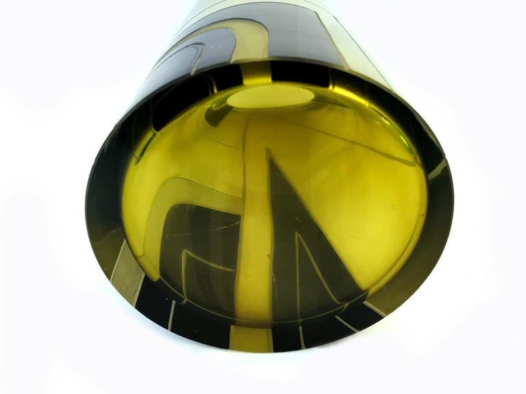 Large Art Deco Geometric Enamel Glass Vase In Excellent Condition For Sale In Devon, England