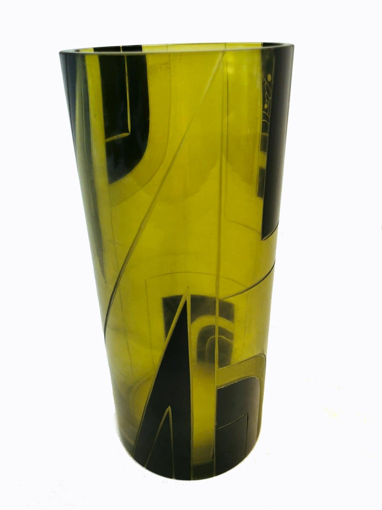 20th Century Large Art Deco Geometric Enamel Glass Vase For Sale