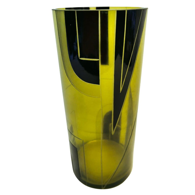 Large Art Deco Geometric Enamel Glass Vase For Sale