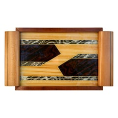 Large Art Deco Geometric Reverse Painted Tray, French, circa 1930