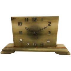 Large Art Deco Green Alabaster Table Clock