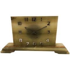 Large Art Deco Green Alabaster Table Clock