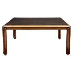 Large Art Deco Italian Walnut Square Dining Table