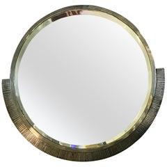 Large Art Deco Modernist Mirror by Edgar Brandt, Signed, circa 1930