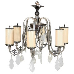 Large Art Deco Opaline Glass Chandelier