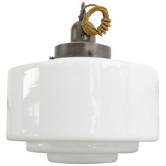 Large Art Deco Opaline Pendant Light, circa 1930s