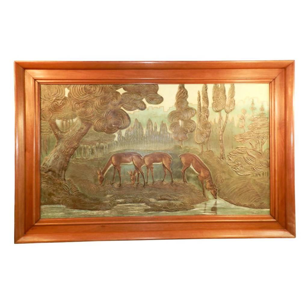 Large Art Deco Painting Signed Gueret