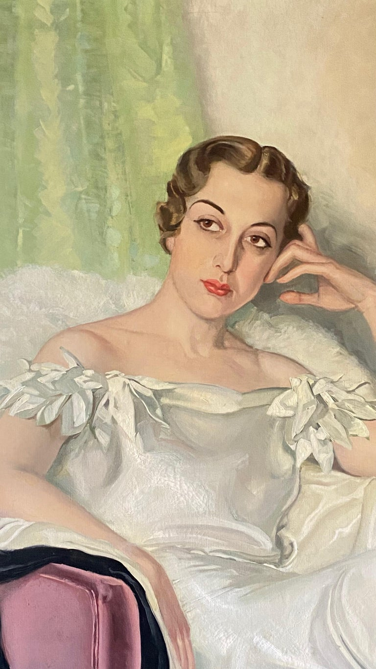 American Large Art Deco Period Portrait Painting of an Elegant Young Woman, 1937 For Sale