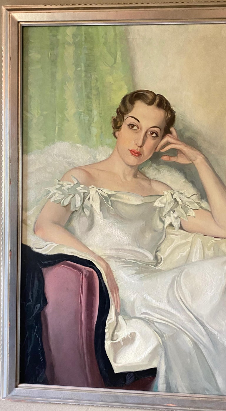 Hand-Painted Large Art Deco Period Portrait Painting of an Elegant Young Woman, 1937 For Sale