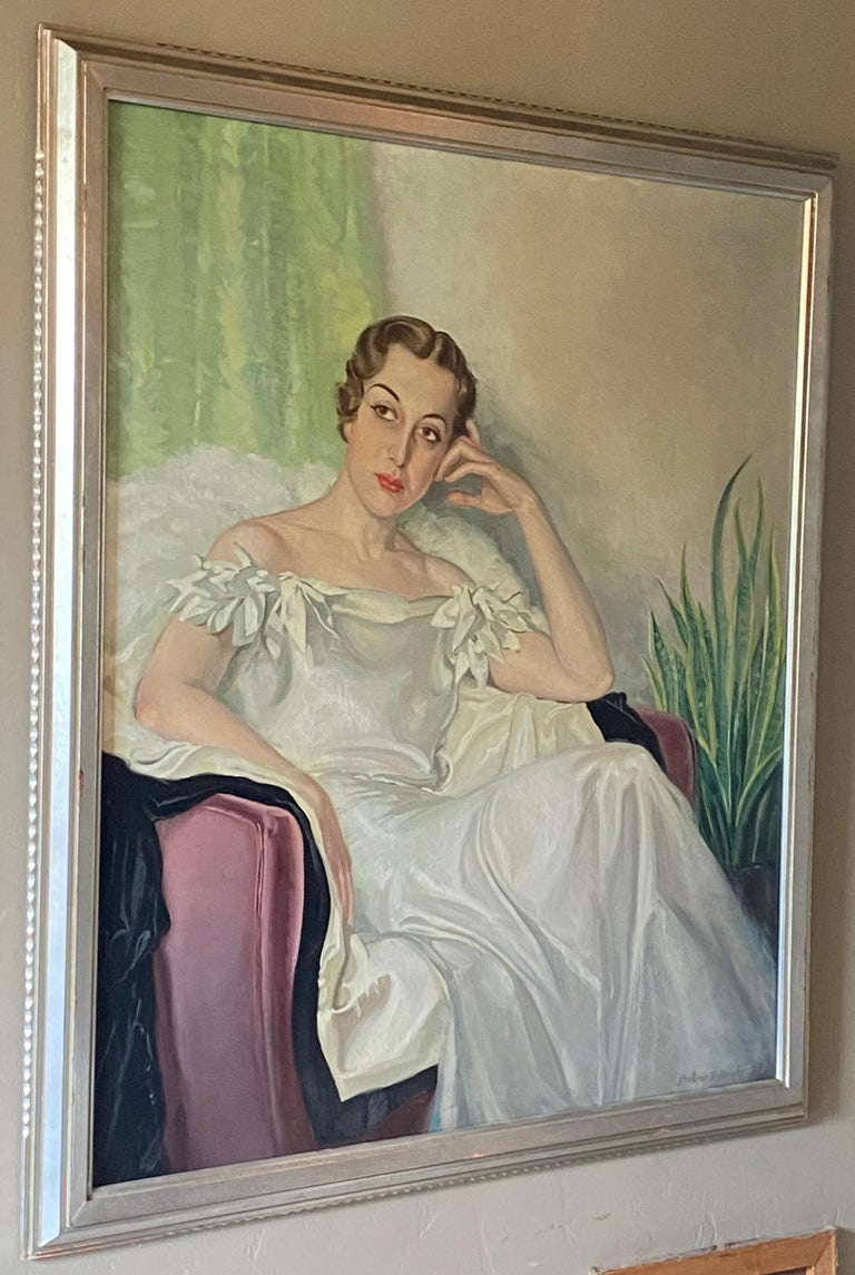 Large Art Deco Period Portrait Painting of an Elegant Young Woman, 1937 In Good Condition For Sale In San Francisco, CA