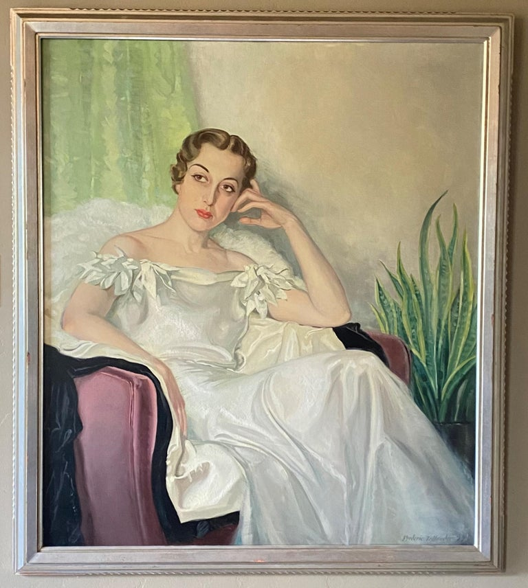 A very large Art Deco style full length portrait of an elegantly dressed beautiful young woman. The woman in this painting is Millie Stokes. Oil on canvas in original silver gilt wood frame. Signed Frederic Tellander and dated 1937.  Frederic