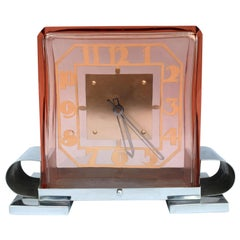 Large Art Deco Rare Modernist French Mantle Clock, circa 1930
