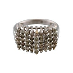 Large Art Deco Ring in 9 Carat White Gold with Numerous Diamonds