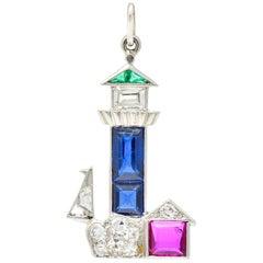 Large Art Deco Sapphire Emerald Ruby Diamond Platinum Lighthouse Charm