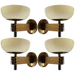 Large Art-Deco Sconces with Opaline Glass and Brass manufactured in Germany 1930