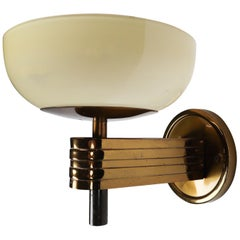 Large Art Deco Sconce with Opaline Glass and Brass Manufactured in Germany 1930