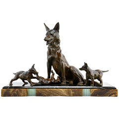 Large Art Deco Sculpture Shepherd Dog with Playful Puppies by Plagnet, 1930s