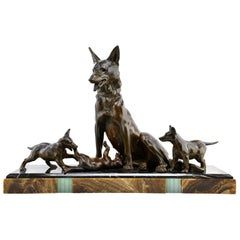 Large Art Deco Shepherd Dog with Playful Puppies Sculpture by Plagnet, 1930