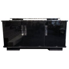Large Art Deco Sideboard, Black Lacquer and Nickel, Germany, circa 1930