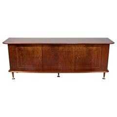 Large Art Deco Sideboard in Mahogany, Walnut and Brass by Abraham Patijn, 1950s