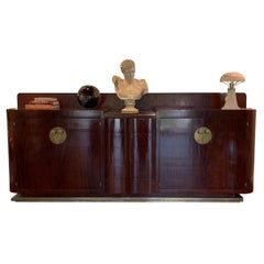 Large Art Deco Sideboard, Wood and Brass with Ceramic handles