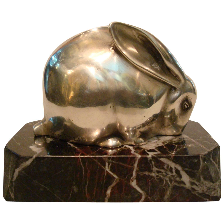Art Deco Silvered Bronze Sculpture of a Rabbit, Edouard Marcel Sandoz