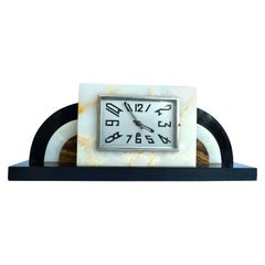 Large Art Deco Solid Marble Mantel Clock, circa 1930
