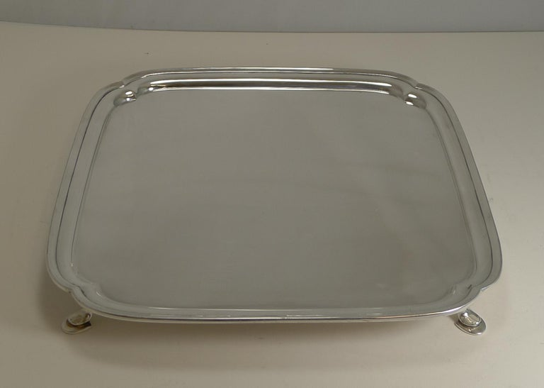 Mid-20th Century Large Art Deco Square Serving/Cocktail Tray in Silver Plate by Mappin and Webb
