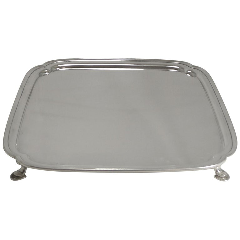 Large Art Deco Square Serving/Cocktail Tray in Silver Plate by Mappin and Webb