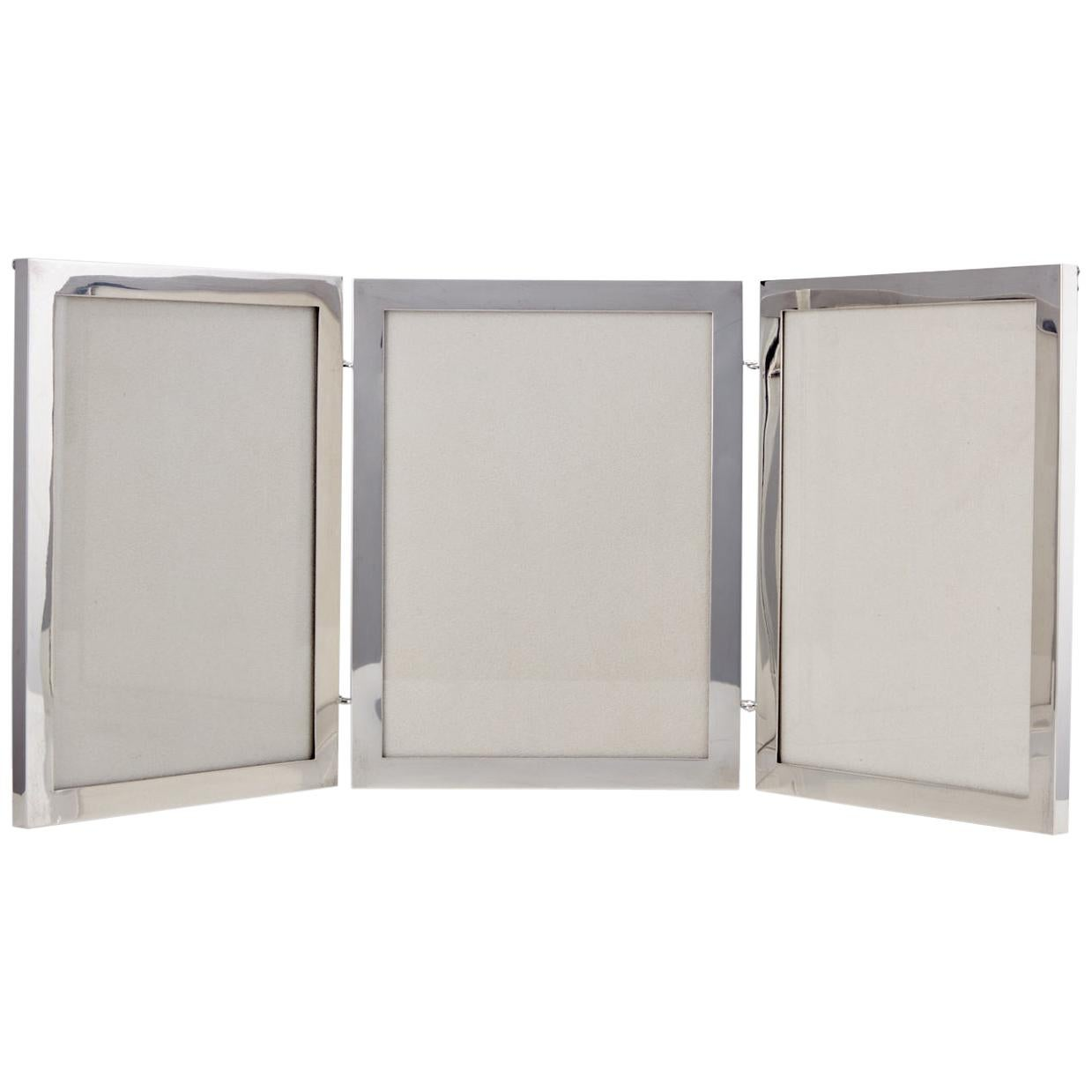 Large Art Deco Sterling Silver Three Fold Photograph Frame Date, circa 1920