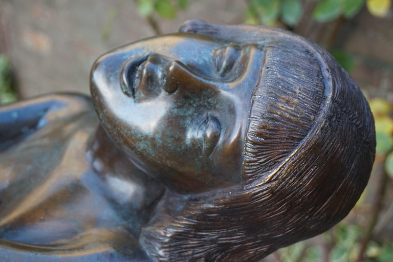 Large Art Deco Style Bronze & Glass Lady Sculpture Floor Lamp after A. Moreau For Sale 4
