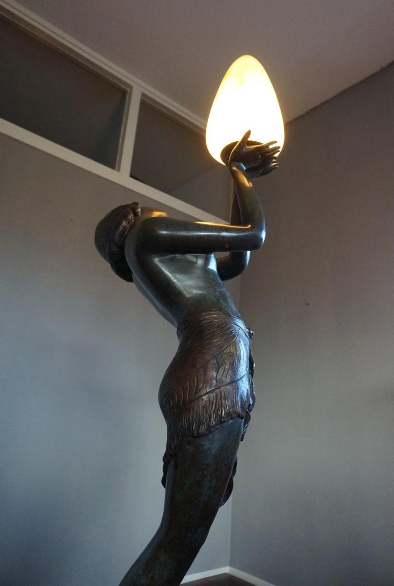 Large Art Deco Style Bronze & Glass Lady Sculpture Floor Lamp after A. Moreau For Sale 5