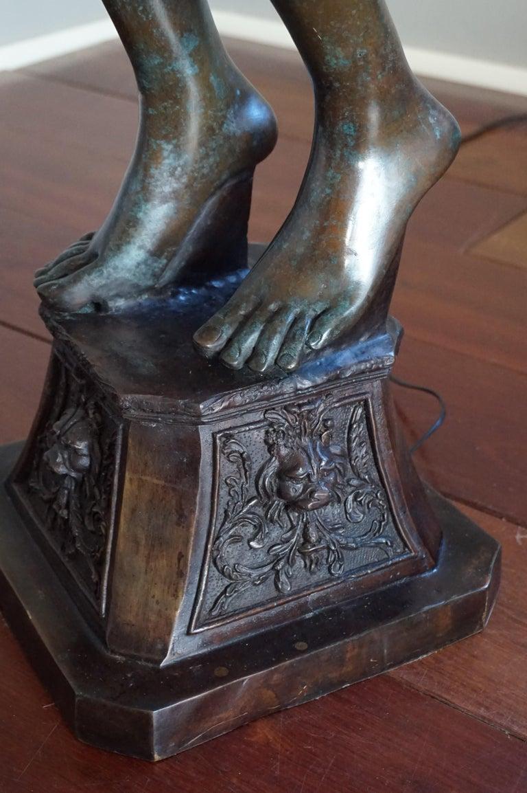 Large Art Deco Style Bronze & Glass Lady Sculpture Floor Lamp after A. Moreau For Sale 7