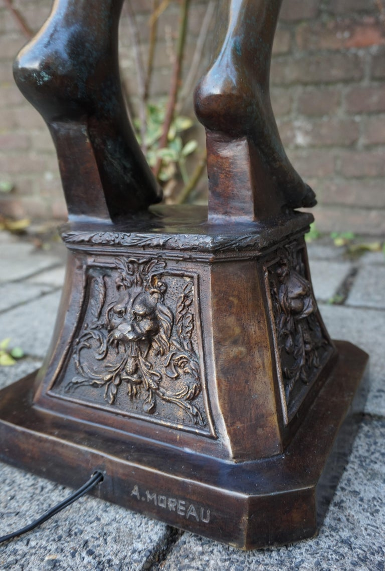 Large Art Deco Style Bronze and Glass Lady Sculpture Floor ...