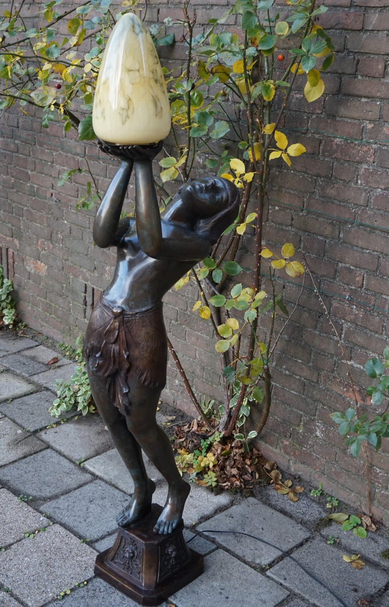 French Large Art Deco Style Bronze & Glass Lady Sculpture Floor Lamp after A. Moreau For Sale