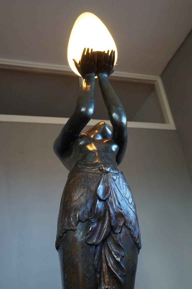 20th Century Large Art Deco Style Bronze & Glass Lady Sculpture Floor Lamp after A. Moreau For Sale