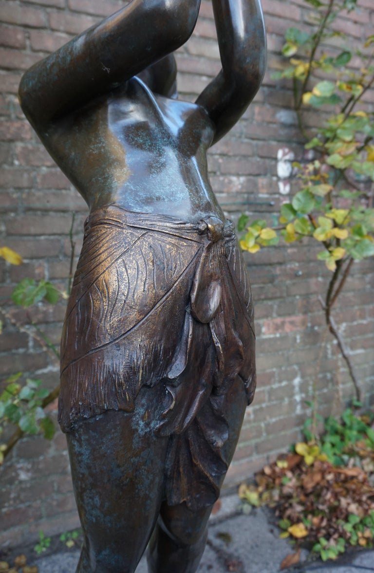 Large Art Deco Style Bronze & Glass Lady Sculpture Floor Lamp after A. Moreau For Sale 1