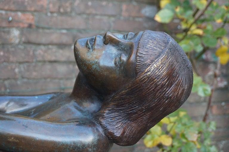 Large Art Deco Style Bronze & Glass Lady Sculpture Floor Lamp after A. Moreau For Sale 3